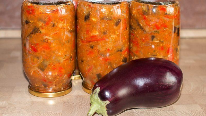 Зимняя заготовка из баклажанов и болгарского перца – быстро и вкусно